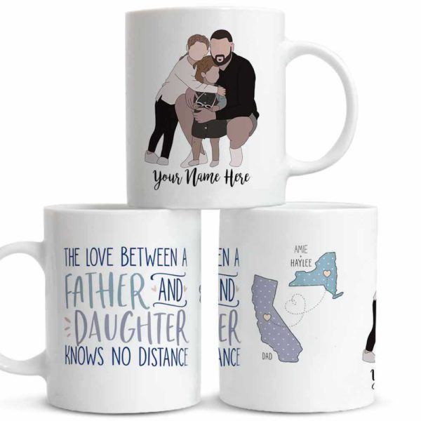 MUG-U-Fami-FathAndDaug-F9-0 @ Family No Distance-Personalized Father And Daughter Portrait Coffee Mug. Custom Family Mug. Faceless Portrait. Gift For Long Distance Daughter And Dad.