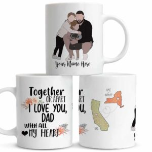 MUG-U-Fami-FathAndDaug-F9-1 @ Family Together Or Apart-Personalized Father And Daughter Portrait Coffee Mug. Custom Family Mug. Minimalist Faceless Portrait. Father Day Gift From Daughter To Dad.