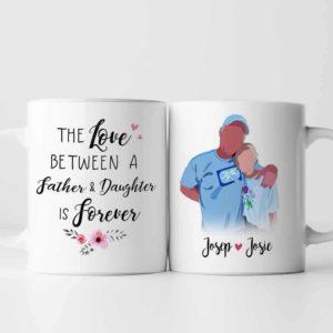 MUG-U-Fami-FathDaugFore-F9-0 @ Family Father Daughter Forever-Custom Family Mug. Personalized Coffee Mug. Minimalist Faceless Portrait. Father Day Gift For Dad And Daughter. Father Daughter Forever.
