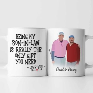 MUG-U-Fami-SonInLaw-F9-0 @ Family Son In Law-Personalized Son-In-Law And Father Portrait Coffee Mug. Custom Family Mug. Digital Art Faceless Portrait. Gift For Son In Law From Dad.