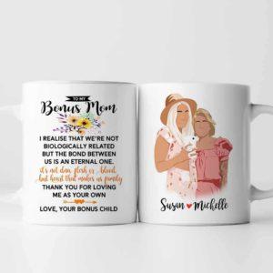 MUG-U-Fami-ToMyBonuMom-F9-0 @ Family From Bonus Child-Personalized Stepmother Portrait Coffee Mug. Custom Family Mug. Minimalist Faceless Portrait From Photo. Gift For Step Mom. To My Bonus Mom.
