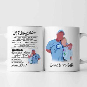 MUG-U-Fami-ToMyDaug-F9-0 @ Family From Motivative Dad-Personalized Father And Daughter Portrait Coffee Mug. Custom Family Mug. Digital Art Faceless Portrait. Gift For Daughter. To My Daughter.