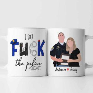MUG-U-Job-PoliWife-Plof-0 @ Police Wife-Personalized Police Wife And Husband Coffee Mug. Custom Couple Mug. Digital Art Faceless Family Portrait. Anniversary, Valentine Gift.