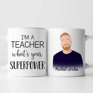 MUG-U-Job-Teac-Tcer-0 @ Teacher-Personalized Proud Teacher Portrait Coffee Mug. Customized Mug. Digital Art Faceless Portrait. Gift For Men. What Is Your Super Power.