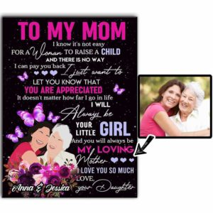 CAVA-U-Fami-ApprMomViolButt-F9-0 @ Family Appreciate Mom Violet Butterflies-Custom Faceless Family Portrait. Personalized Digital Portrait From Photo. To My Mom Gift For Mother From Daughter. Wall Art Print Canvas.