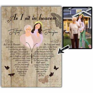 CAVA-U-Fami-AsISitInHeav-F9-0 @ Family As I Sit In Heaven-Custom Faceless Portrait. Personalized Digital Art Faceless Family Portrait. Mother Loss Memorial Gift For Daughter. Wall Art Print Canvas.