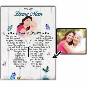 CAVA-U-Fami-ButtWordMom-F9-0 @ Family Butterflies Words Mom-Custom Family Portrait Without Face. Personalized Digital Faceless Illustration. To My Mom Gift For Mother From Daughter. Wall Art Canvas.