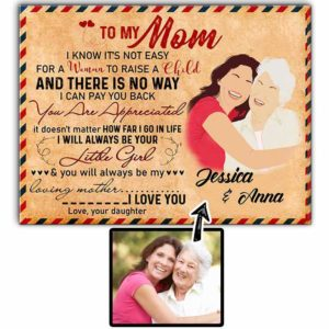 CAVA-U-Fami-EnveMom-F9-0 @ Family Envelope Mom-Custom Faceless Family Portrait From Photo. Personalized Digital Illustration. Letter To Mother From Daughter. Mom Gift. Wall Art Canvas.