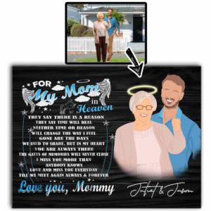 CAVA-U-Fami-ForMyMom-F9-0 @ Family For My Mom-Custom Faceless Portrait. Personalized Digital Art Faceless Family Portrait. Mother Loss Remembrance Gift For Son. Wall Art Print Canvas.