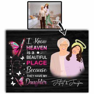 CAVA-U-Fami-GuarAngeInHeav-F9-0 @ Family Guardian Angel In Heaven-Custom Faceless Portrait. Personalized Digital Art Faceless Family Portrait. Daughter Loss Memorial Gift For Mother. Wall Art Print Canvas.