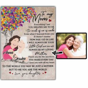 CAVA-U-Fami-HelpMom-F9-0 @ Family Helpful Mom-Personalized Faceless Family Portrait From Photo. Customized Digital Illustration. Mother Day Gift For Mom From Daughter. Wall Art Canvas.