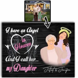 CAVA-U-Fami-IHaveAnAnge-F9-0 @ Family I Have An Angel-Custom Faceless Portrait. Personalized Faceless Family Portrait From Photo. Daughter Loss Memorial Gift For Mother. Wall Art Print Canvas.