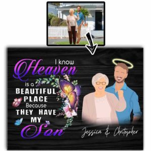 CAVA-U-Fami-IKnowHeav-F9-0 @ Family I Know Heaven-Personalized Faceless Portrait. Custom Faceless Family Portrait From Photo. Son Loss Remembrance Gift For Mother. Wall Art Print Canvas.