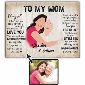 CAVA-U-Fami-ImpoMom-F9-0 @ Family Important Mom-Customizable Faceless Family Portrait From Photo. Personalized Digital Illustration. Mother Day Gift For Mom From Daughter. Wall Art Canvas.