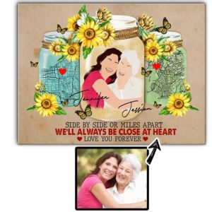 CAVA-U-Fami-LoveJars-F9-0 @ Family Loves Jars 2-Personalized Faceless Portrait. Custom Digital Portrait Drawing From Photo. Mother Day Family Gift For Mother And Daughter. Wall Art Canvas.