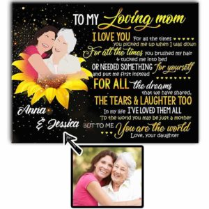 CAVA-U-Fami-LoviMom-F9-0 @ Family Loving Mom-Personalized Faceless Family Portrait From Photo. Customized Faceless Illustration. Mother Day Gift For Mom From Daughter. Wall Art Canvas.