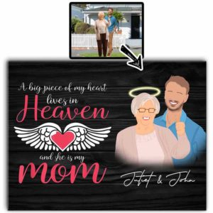 CAVA-U-Fami-PiecOfMyHear-F9-0 @ Family Piece Of My Heart-Customized Faceless Portrait. Personalized Digital Faceless Family Portrait. Mother Loss Remembrance Gift For Son. Wall Art Print Canvas.