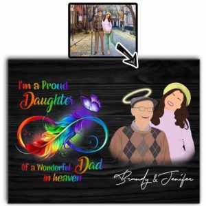 CAVA-U-Fami-ProuDaugWondDad-F9-0 @ Family Proud Daughter Of A Wonderful Dad-Custom Faceless Portrait From Photo. Personalized Digital Family Portrait. Father Loss Memorial Gift For Daughter. Wall Art Print Canvas.
