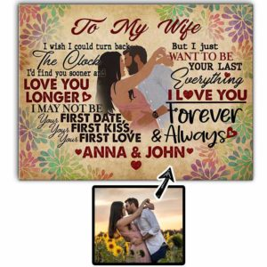 CAVA-U-Fami-ToMyWifeTheCloc-F9-0 @ Family To My Wife The Clock-Personalized Faceless Couple Portrait. Customizable Digital Drawing From Photo. To My Wife Anniversary Gift For Wife. Wall Art Print Canvas.
