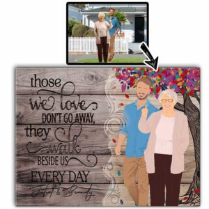 CAVA-U-Fami-WalkBesiUsColoTree-F9-0 @ Family Walk Beside Us Colorful Tree-Personalized Faceless Portrait. Digital Custom Faceless Family Portrait Drawing. Family Member Loss Remembrance Gift. Wall Art Print Canvas.