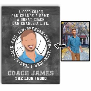 CAVA-U-Hobb-VollTeamWord-Vlbl-0 @ Volleyball Team Word-Custom Faceless Coach Portrait And Player Names. Personalized Faceless Portrait From Photo. Gift For Volleyball Coach. Wall Art Canvas.