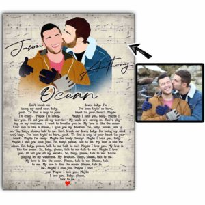 CAVA-U-Lgbt-LoveSong-Lgbt-1 @ Lgbt Love Song-Personalized Couple Faceless Portrait. Make Your Own Digital Portrait From Photo. Anniversary Gift For Lgbt Gay Couple. Wall Canvas Print.