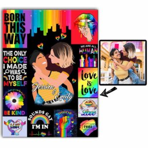 CAVA-U-Lgbt-PridDay-Lgbt-0 @ Lgbt Pride Day 2-Personalized Faceless Couple Portrait. Custom Portrait Drawing From Photo. Anniversary Gift For Lgbt Gay Lesbian Couple. Wall Art Canvas.