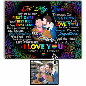 CAVA-U-Lgbt-ToMyLoveHearWord-Lgbt-0 @ Lgbt To My Love Heart Words-Customizable Couple Faceless Portrait. Personalized Digital Portrait From Photo. Anniversary Gift For Lgbt Gay Couple. Wall Canvas Print.