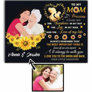 CAVA-W-Fami-SflMoonAndBack-F9-0 @ Family Sunflower Moon And Back-Personalized Faceless Family Portrait From Photo. Customizable Digital Artwork. To My Mom Gift For Mother From Daughter. Wall Art Canvas.