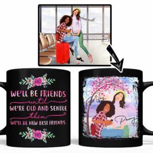 MUG-U-Fami-FrieTillOld-F9-0 @ Family Friend Till Old-Custom Faceless Portrait From Photo. Personalized Digital Art Faceless Portrait. Gift For Bestie, Sisters, Best Friends. Coffee Mug Cup.