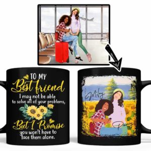 MUG-U-Fami-PromBestFrie-F9-0 @ Family Promises Best Friends-Custom Faceless Portrait. Personalized Faceless Portrait Digital Artwork. Birthday Gift For Bestie, Sisters, Best Friends. Coffee Mug Cup.