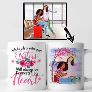 MUG-U-Fami-SideBySide-F9-0 @ Family Side By Side-Custom Faceless Family Portrait From Photo. Personalized Digital Faceless Portrait. Gift For Bestie, Sisters, Best Friends. Coffee Mug Cup.