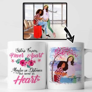 MUG-W-Fami-SistForeFlwr-F9-0 @ Family Sister Forever Flower-Personalized Faceless Family Portrait From Photo. Custom Digital Faceless Portrait. Gift For Bestie, Sisters, Best Friends. Coffee Mug Cup.