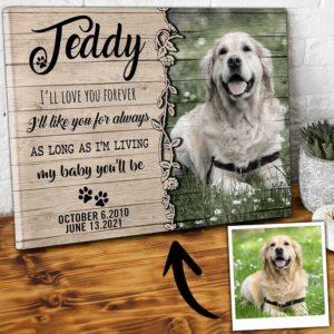 CAVA-U-Dog-ForeLove-Dog-0 @ Dog Forever Loved-Custom Pet Memorial Gift. Personalized Dog Portrait Dog Canvas Photo Print. Pet Loss Gift, Dog Loss Gift For Dog Mom, Dog Dad, Dog Lover.