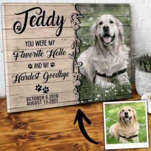 CAVA-U-Dog-HellAndGood-Dog-0 @ Dog Hello And Goodbye-Personalized Pet Memorial Gift. Custom Dog Passing Dog Canvas Photo Print. Goodbye Gift, Dog Loss Gift For Dog Mom, Dog Dad, Dog Lover.