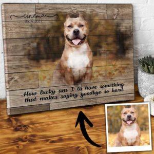 CAVA-U-Dog-LuckGood-Dog-0 @ Dog Lucky Goodbye-Personalized Dog Portrait. Custom Dog Memorial Gift. Pet Portrait Canvas Print From Photo. Pet Goodbye Dog Loss Gift For Dog Mom, Dog Dad.
