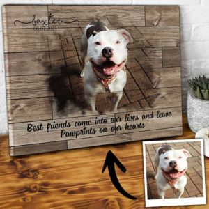 CAVA-U-Dog-PawPrinFrie-Dog-0 @ Dog Paw Print Friend-Custom Dog Loss Gift. Personalized Dog Memorial Gift. Dog Portrait Pet Photo Pet Portrait Canvas Print. Dog Passing Gift For Dog Lover.