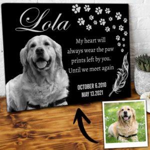 CAVA-U-Dog-PawPrinHear-Dog-0 @ Dog Paw Print Heart-Custom Dog Loss Gift. Personalized Dog Memorial Gift. Dog Portrait Pet Portrait Canvas Print. Pet Loss Dog Passing Gift For Dog Lover.