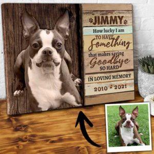 CAVA-U-Dog-SayiGoodSoHard-Dog-0 @ Dog Saying Goodbye So Hard-Personalized Dog Loss Gift. Custom Dog Memorial Gift. Dog Portrait Pet Portrait Canvas Print. Goodbye Dog Passing Gift For Dog Lover.