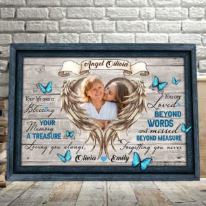 CAVA-U-Fami-BlesYouWoodFram-F9-1 @ Family Bless You Wooden Frame-Personalized Memorial Gift For Family Loss. Custom Memorial Canvas Keepsake. Remembrance Bereavement Sympathy Grieving Funeral Gift Idea.