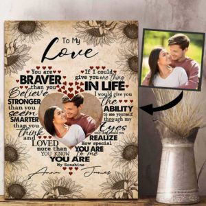 CAVA-U-Fami-BravStroSmarWife-F9-0 @ Family Braver Stronger Smarter Wife-Loving Couple To My Love Custom Photo Canvas. Couple Anniversary Gift. Personalized Valentines Gift For Couple. Wall Art Canvas.