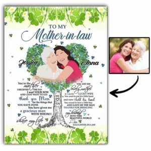 CAVA-U-Fami-ClovMothInLaw-F9-0 @ Family Clover Mother In Law-Minimalist My Loving Mother In Law Present For Mother Canvas From Daughter With Names For Mothers Day Gift. Personalized Wall Art Faceless From Photo