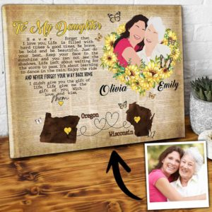 CAVA-U-Fami-DancInTheRain-F9-1 @ Family Dance In The Rain-Custom Map Gift For Daughter Canvas From Mom With Names And Map For Mothers Day Gift. State To State Wall Art With Personalized Portrait