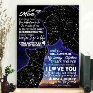 CAVA-U-Fami-GlxyWolfMomAndChil-F9-0 @ Family Galaxy Wolf Mom And Child-Personalized To My Mom Custom Star Map Canvas Birthday Gift For Mothers Day Gift For Mom From Daughter Wall Art Print Canvas