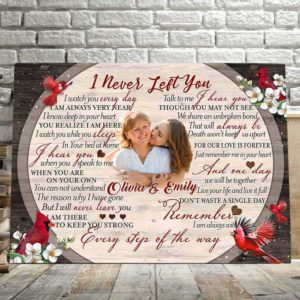 CAVA-U-Fami-INeveLeftCard-F9-1 @ Family I Never Left Cardinal-Personalized Memorial Gift For Family Loss. Custom Memorial Canvas Memorial Keepsake. Remembrance Bereavement In Loving Memory Wall Art.