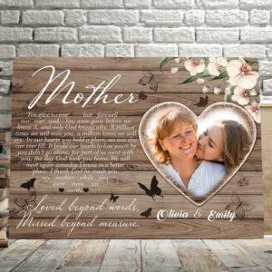 CAVA-U-Fami-LastFareDarkWood-F9-1 @ Family Last Farewell Dark Wood-Custom Mother Memorial Gift For Loss Of Mother. Personalized Mother Loss Memorial Keepsake. Condolence Sympathy Memorial Canvas Wall Art.