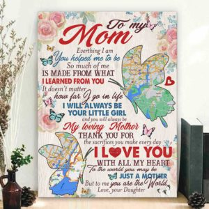 CAVA-U-Fami-MomBlueButt-F9-0 @ Family Mom Blue Butterflies 2-Personalized Long Distance Gift For Mom From Daughter. Custom Location Map State To State Canvas. Mothers Day Gift For Mom Wall Art Canvas