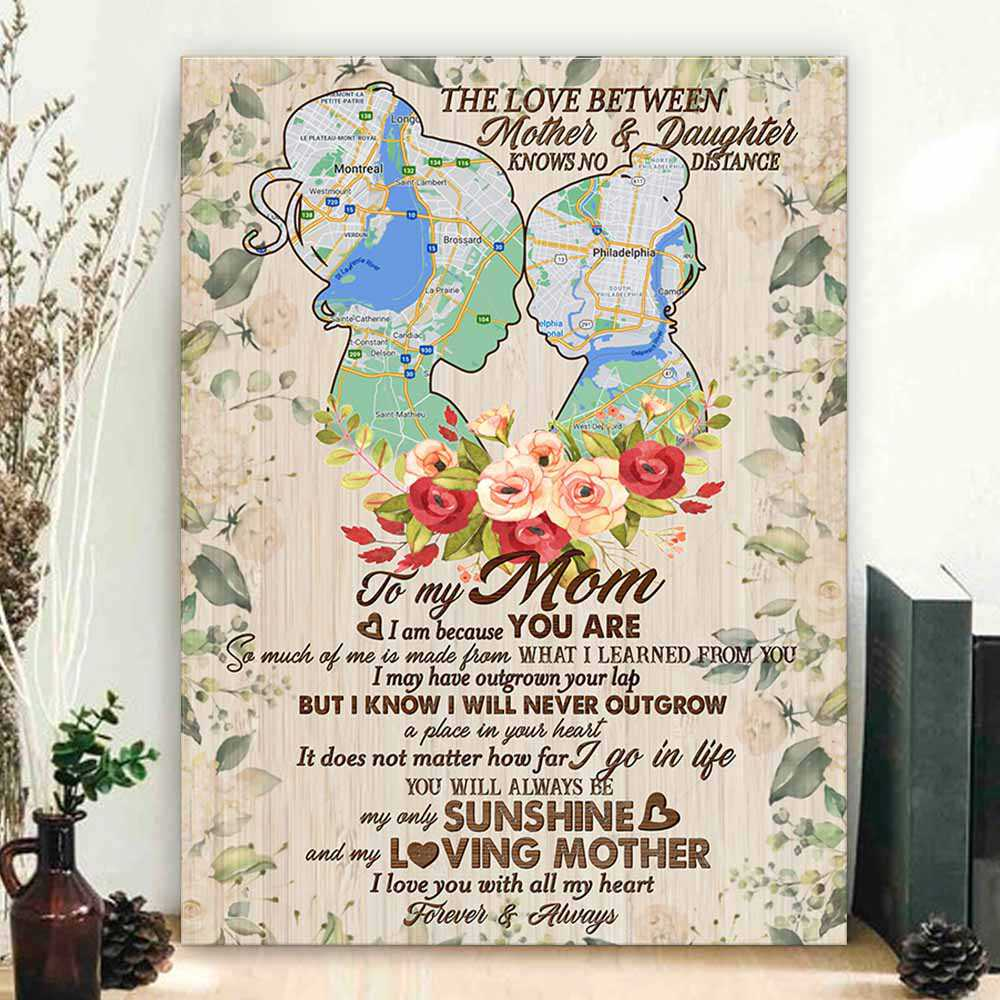 CAVA-U-Fami-NeveOutg-F9-0 @ Family Never Outgrow-Personalized To My Mom Long Distance Gift With Custom Location Map Canvas. Letter To My Mom. Mothers Day Gift To Mom Wall Art Canvas