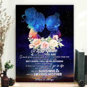 CAVA-U-Fami-NeveOutgGlxy-F9-0 @ Family Never Outgrow Galaxy - 2-Personalized My Loving Mom Night Sky Map Canvas Gift For Mom From Daughter For Birthday Mothers Day Gift Mom And Daughter Wall Art Canvas