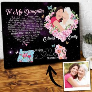 CAVA-U-Fami-RainDancGlxy-F9-0 @ Family Rain Dance Galaxy-Personalized Mom With Daughter Gift From Mom Custom Map Canvas For Daughter State To State Gifts For Long Distance Mothers Day Gifts